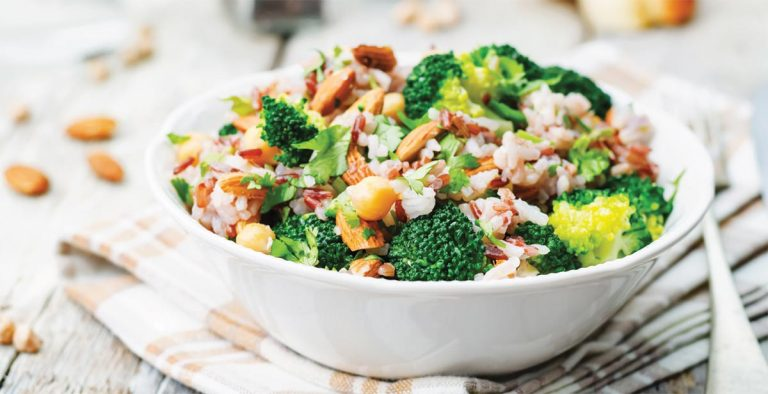 Roasted Broccoli Brown Rice Salad with Almonds & Chickpeas